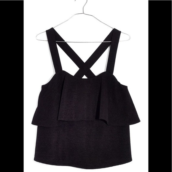 Madewell Tops - Madewell Texture & Thread Tiered Tank Blk Blogger